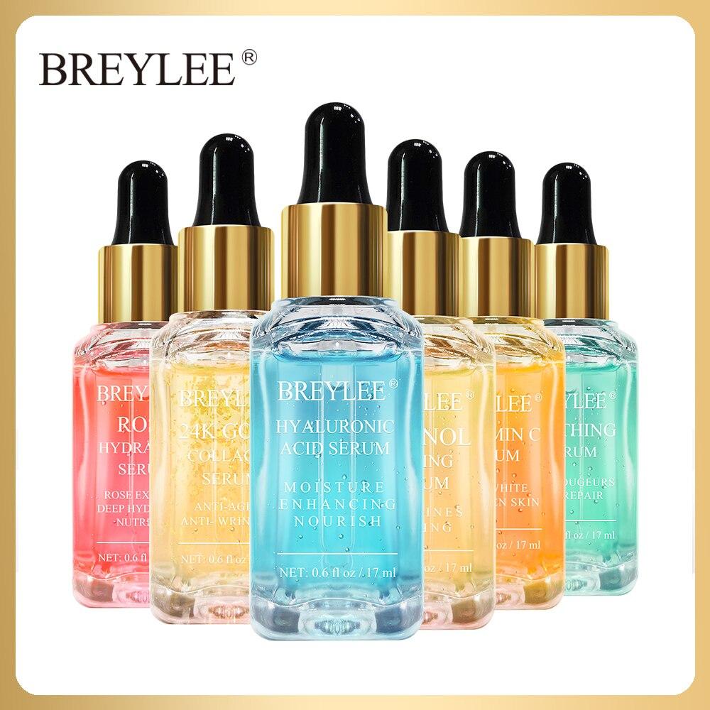 BREYLEE Facial Serum Face Essential Oil 24K Gold Collagen Hyaluronic Acid Moist Vitamin C Whiten Retinol Anti-Aging Skin Care