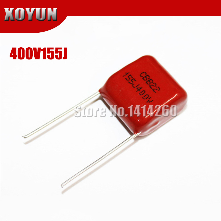10pcs/lot CBB22 400V155J Pitch 15MM 155J 400V 155J400V CBB Polypropylene Film Capacitor
