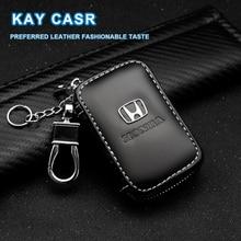 Hakiki deri anahtar cüzdan fermuar araba anahtarı sahipleri toka Honda Mugen güç Civic Accord CRV Hrv Fit caz araba aksesuarları