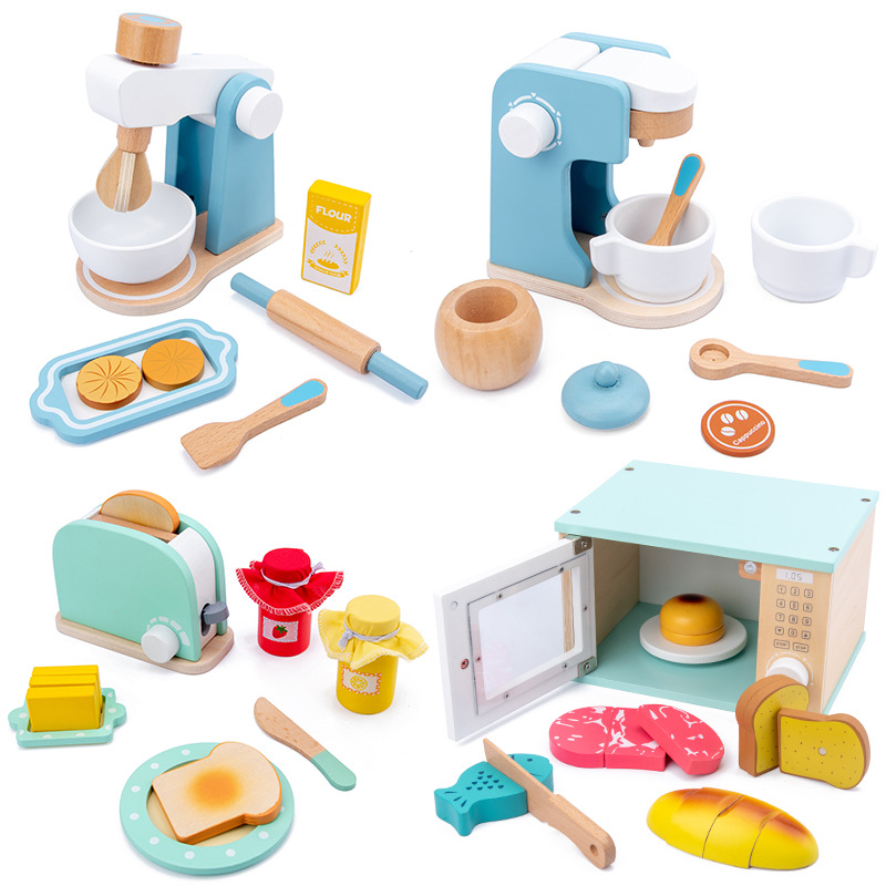 New Kids Wooden Pretend Play Sets Simulation Toasters Bread Maker Coffee Machine Blender Baking Kit Game Mixer Kitchen Role Toys