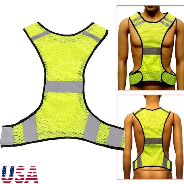 Veste réfléchissante gilet de sécurité pour courir Jogging marche vélo (Luciffer jaune)