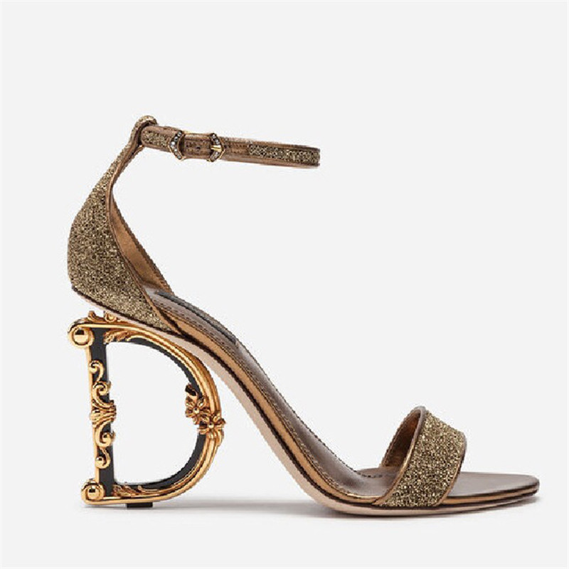 High Quality Genuine Leather Shiny Sandals Women High Heels Shoes Designer Letter Heels Round Toe Ladies Party Pumps Shoes
