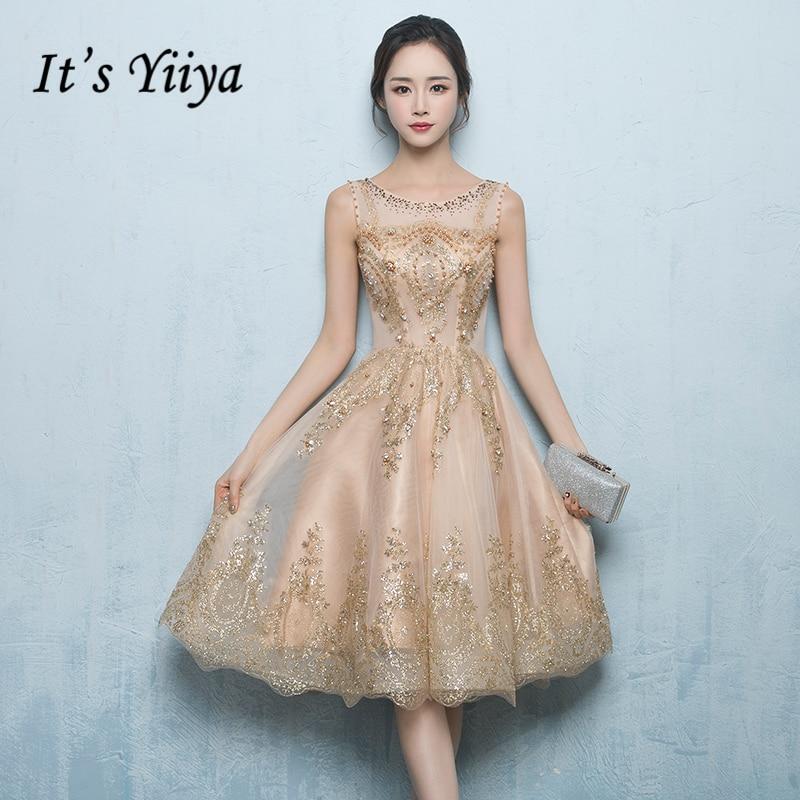 It's YiiYa Luxury Evening Dress O-Neck Sleeveless Bling Sequined Illusion Pearls Fashion Designer Formal Dresses LX186