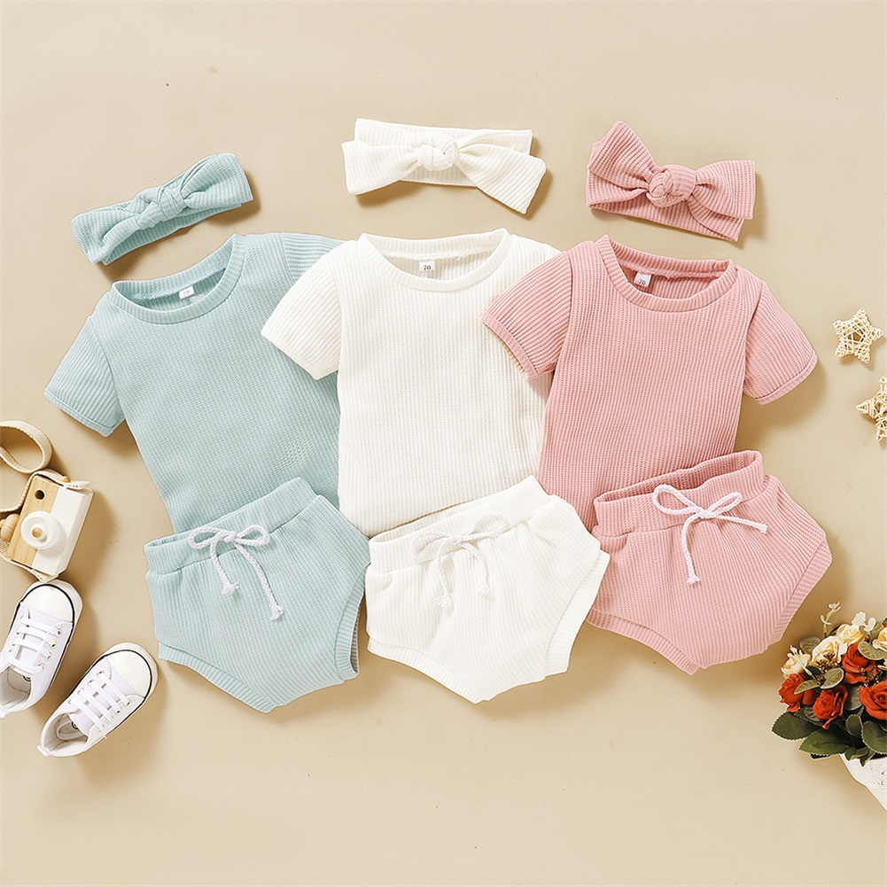 Infant Baby Girl Clothes Set Summer Newborn Shirt Short Set Two Piece Short Sleeve Outfit Headband 0-3t