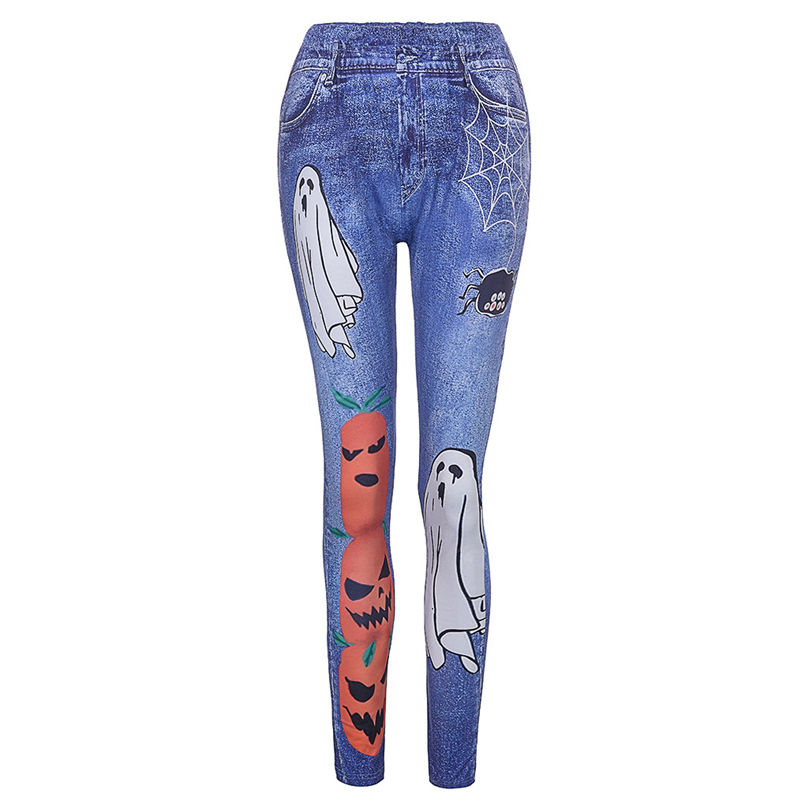 New Fashion Plus Size Halloween Jeans Women Plus Size Spider Pumpkin Halloween Printing Leggings Pants jeans mujer 4A30 (9)