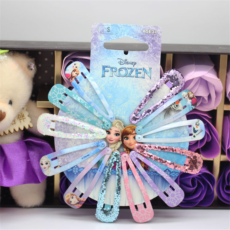 Disney Cartoon Frozen Children Hair Clip Doll Accessories Elsa Hair Pin Bow Headwear Girl Birthday Gift Princess Kid Head Clip