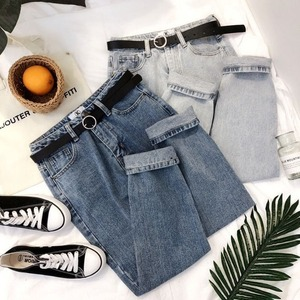 Винтажные джинсы с высокой талией, Женские однотонные прямые брюки, Свободные повседневные джинсовые брюки с высокой талией, Pantalon Femme разме...