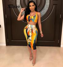 цена на women new summer tie dye print sexy night club party two piece set bodycon dress tank top midi tie up skirt suit sexy beach wear