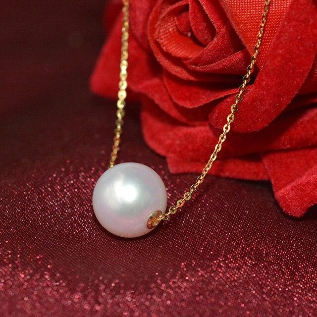 Xf800 multa jóias au750 18k amarelo pingente colar 100% natural pérola gargantilhas colar forma redonda melhor presente para o amante n03 2