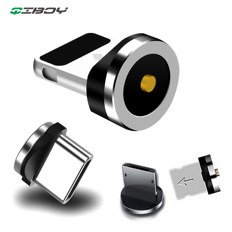 Round Magnetic Plug Micro USB C/Type C/8 Pin For iPhone Adapter USB Magnet Charger Plug