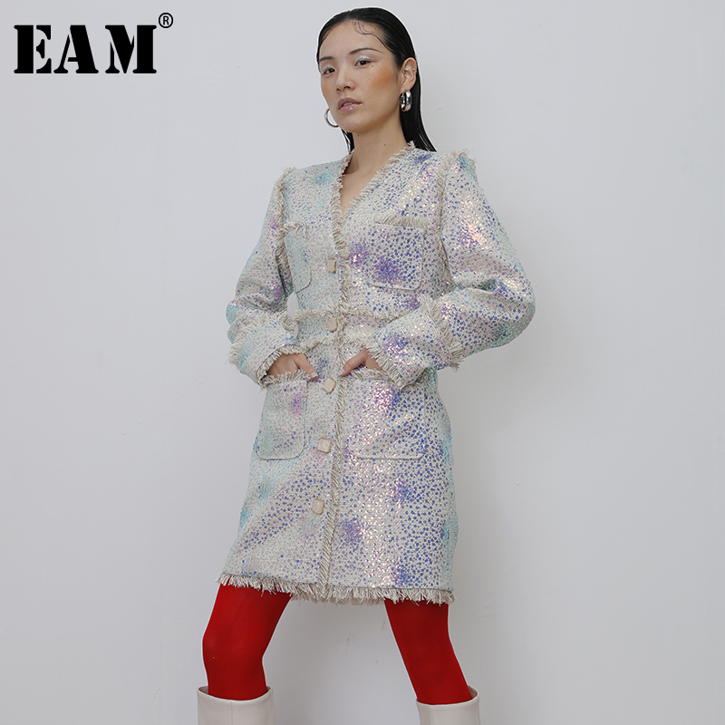 [EAM]  Women Tassels Sequings Long Blazer New V-collar Long Sleeve Loose Fit  Jacket Fashion Tide Spring Autumn 2020 19A-a416