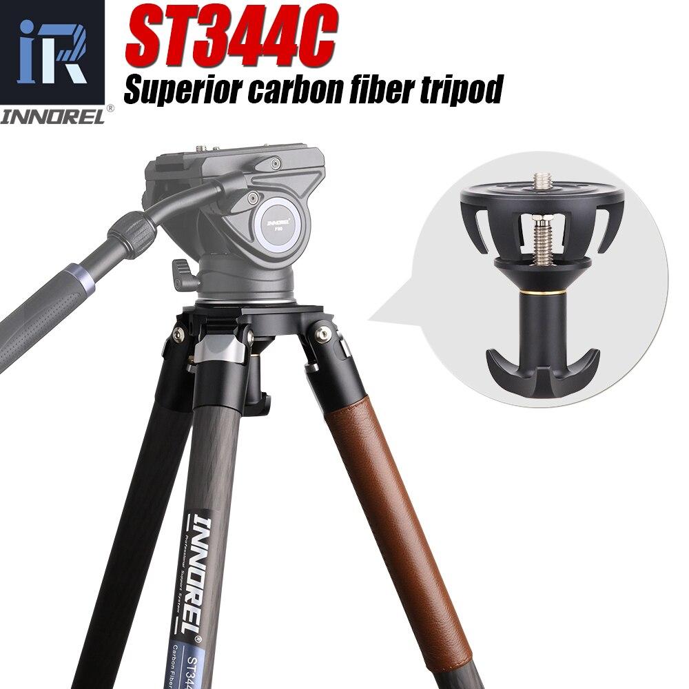 St344c profissional resistente tripé de fibra carbono monopé 75mm tigela adaptador cabeça fluido ballhead para câmera dslr birdwatching