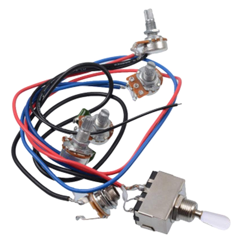 Lp Electric Guitar Pickups Wiring Harness Kit 2T2V 500K Pots 3 Way Switch With Jack For Dual Humbucker  Les Pual Style G