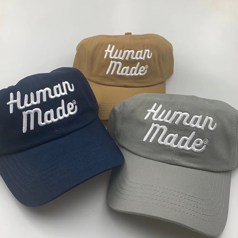Classic Logo Letters Embroidery HUMAN MADE Caps Men Women 1:1 Best Quality Adjustable Hat HUMAN MADE Baseball Caps Inside Tag