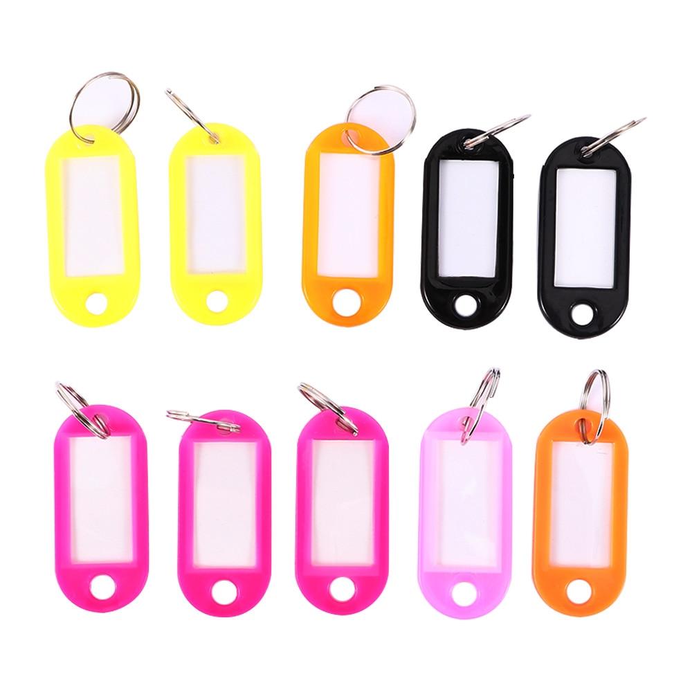 10 Pcs Luggage Tags Plastic Custom Split Ring ID Key Tags Labels Name Key Chains Travel Key Rings Numbered Women Name Baggage