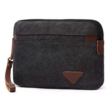 Casual Handbag Canvas Men Clutch with Leather Belt Portable Square Handy