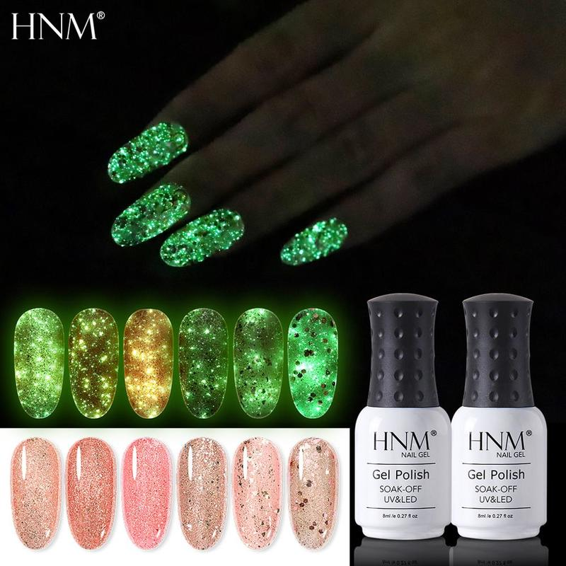 HNM 8ML Luminous Fluorescent Rose Gold Gel Nail Polish Glow In The Dark Long Lasting Soak Off  UV LED Varnish Primer Gel Lak