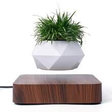 Dönen çiçek Pot manyetik yüzen saksı bitki ev masaüstü dekorasyon süspansiyon ahşap tahıl bitki saksı