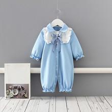 Ubranka dla niemowląt śpioszki dla niemowląt noworodek ubrania bawełniane z długim rękawem kołnierz piotruś pan kombinezon dla niemowląt kombinezon dla niemowląt niebieski 0-18M tanie tanio COTTON Stałe Dla dzieci Skręcić w dół kołnierz Przycisk zadaszone Pajacyki Dziecko dziewczyny Pełna baby rompers