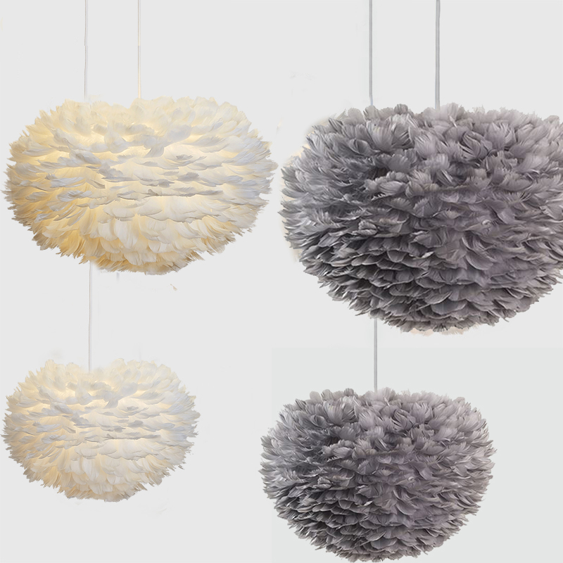 Pendant Lights White Feather E27 Plume Lights Led  Art Decorative  Droplight  Romantic Bedroom Hanging Lamp Nature Goose Feather