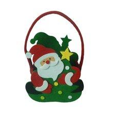Christmas Faux Bark Creative Pattern Cartoon Tote Bag Child Gift Santa Apple Snowman Portable