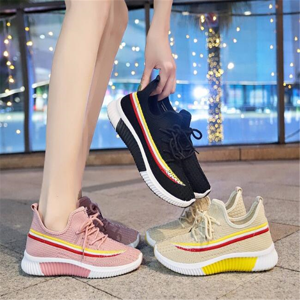 Outdoor sport shoes Women Sneakers Mesh Knitting Flat Running Shoes Lightweight Slip-on Breathable Walking Sport ShoES y763