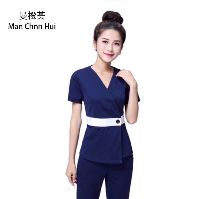 Sağlık kulübü iş giysisi kadın çayevi garson giysileri ayak banyosu güzellik salonu SPA üniforma 2 parça nakış DIY Logo üniforma