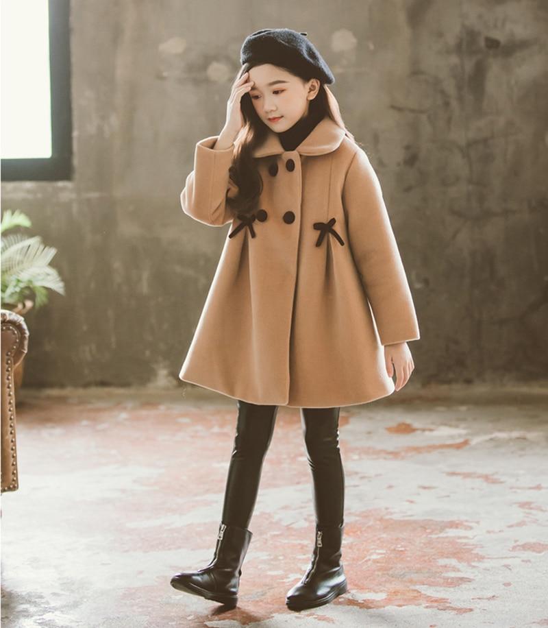 Children Jacket for Girls Winter Wool Warm Overcoat Fashion Girls Clothes Kids Outerwear Autumn Girls Coat 4 6 8 10 12 13 Years