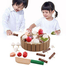 цена на Baby Pretend To Play Cutting Cakes Play Food Early Education Toys Wooden Children Kitchen Toys Magnetic Birthday Gift Toys Apr15