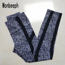 Monbeeph 2019 Новое поступление, черные леггинсы с принтом, женские брюки-карандаш в полоску