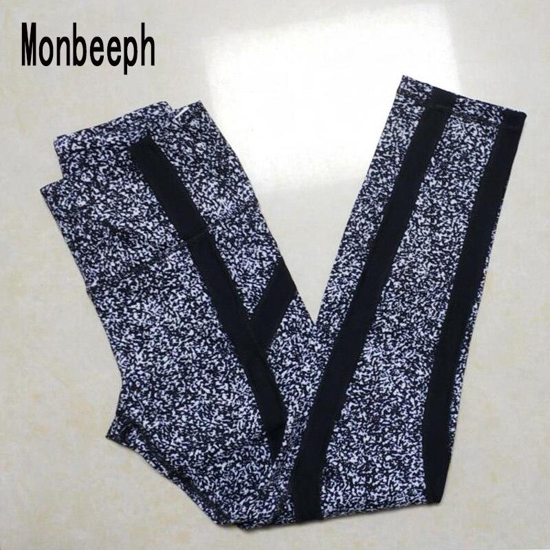Monbeeph 2019 New Arrival Print And Black Leggings Stitching Stripes Women Pants Pencil Pants