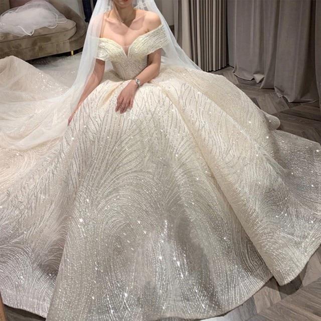 Luxury Sequins Wedding Dress Classic Boat Neck Bridal Gown Off The Shoulder Vestido De Noiva Robe De Mariee Customize 1
