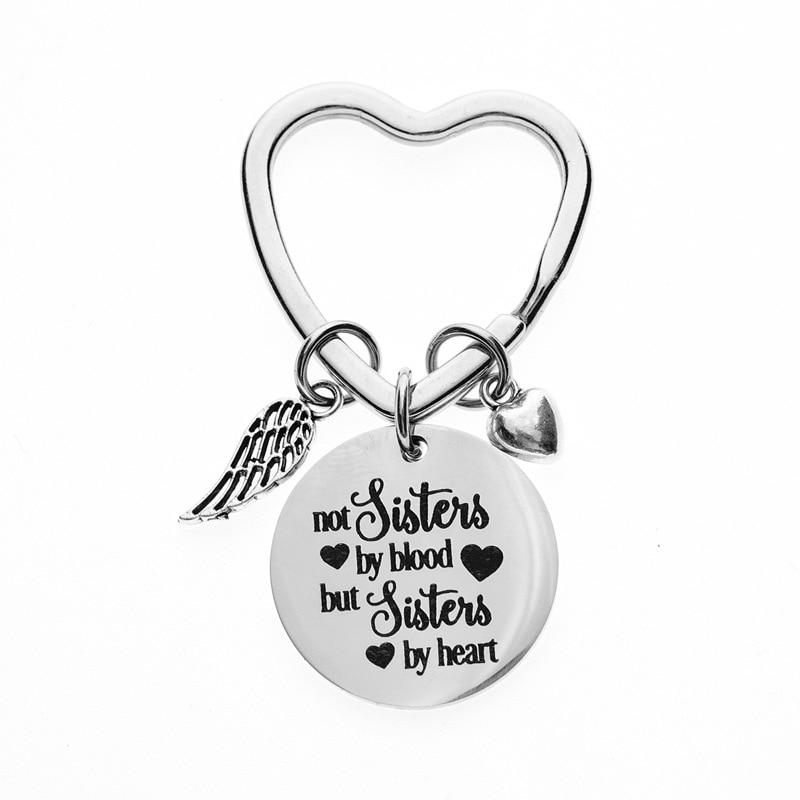 Брелок для ключей Oeinin, креативный брелок для ключей с надписью «не сестры по крови, но сестры по сердцу», брелок для ключей для мальчиков, цве...