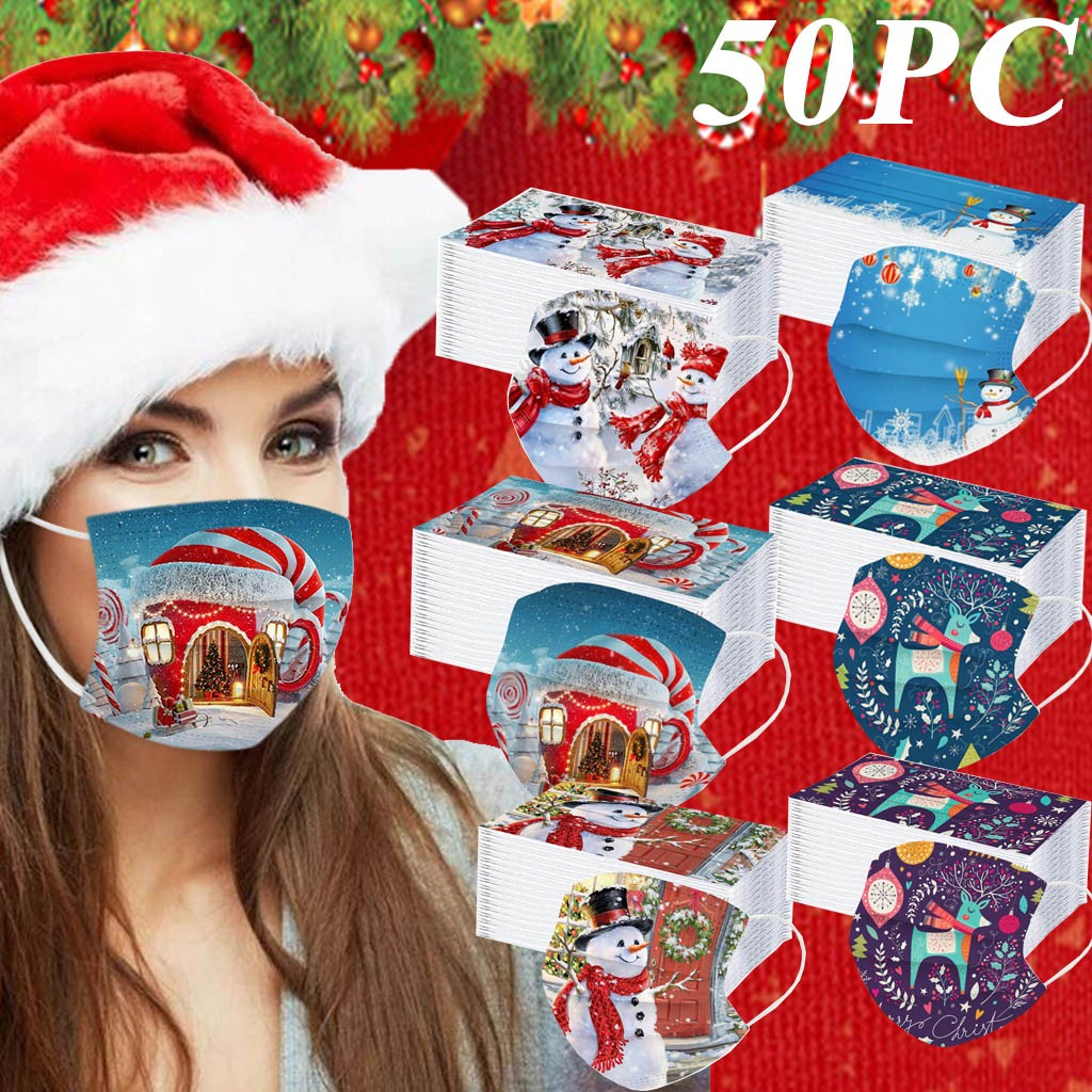 50pcs Disposable Unisex Printed Christmas Soft Masks Adults 3-layer Masks Breathable Haze Proof Protective Mouth Face Mask#YL5