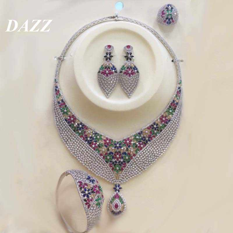 Dazz Luxury Colorful Zircon Round Pendant Necklace Earrings Ring Bangle Nigeria Wedding Jewelry Set Bridal Women Dubai Jewellery