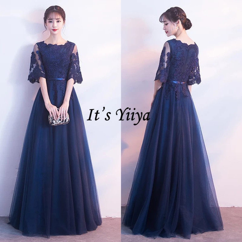 It's Yiiya O-Neck Evening Dress Half Sleeve Lace A-Line Robe De Soiree K295 Illusion Plus Size Floor-Length Formal Gowns