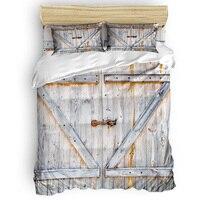 Country Barn Door Farm Door Printing Custom Bedding Set 3D Digital Printing Christmas Bedding Set US KING QUEEN