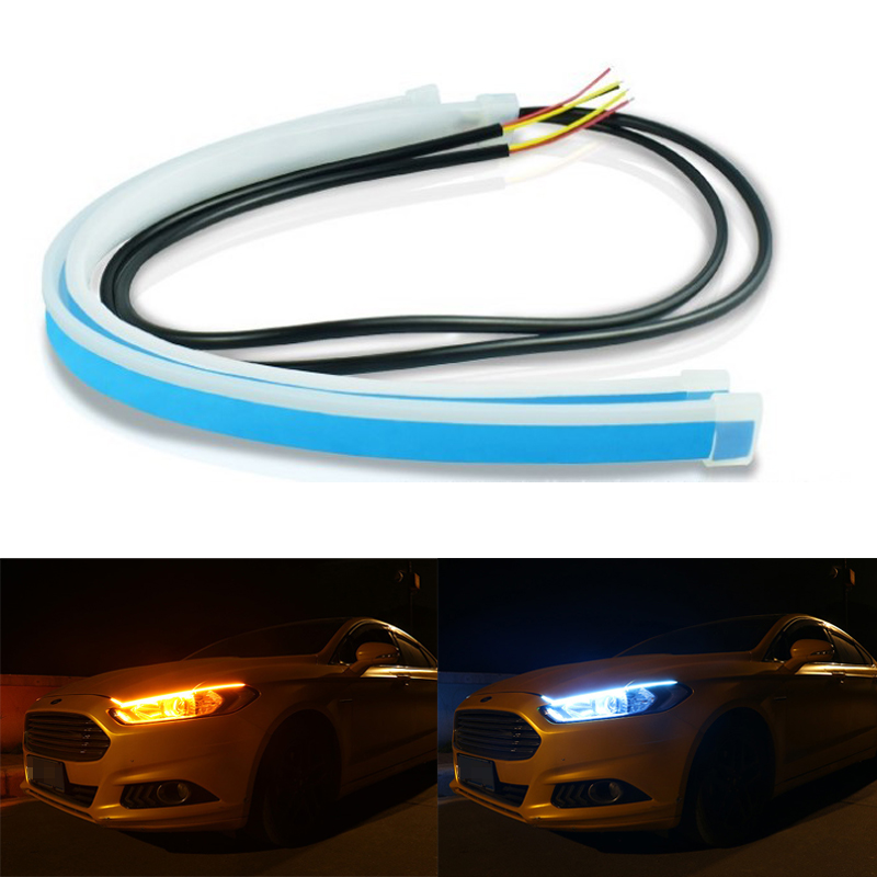 2x Led Light Strip DRL Daytime Running Light Flowing Turn Signal lamp Auto Headlights Decorative Bulb Day light 12V For The Car