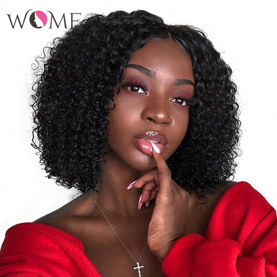 WOME Kinky Curly Hair Wigs 13x4 Lace Front Human Hair Wigs Brazilian Short Curly Bob Wigs Pre Plucked Hairline 150% Remy Hair