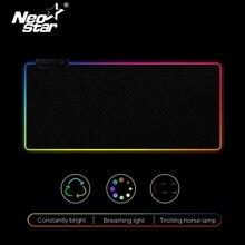 RGB светодиодный коврик для мыши большой коврик для мыши USB Проводное освещение игровой геймер Коврик для мыши Клавиатура Нескользящая цветная светящаяся для ПК коврик для мыши