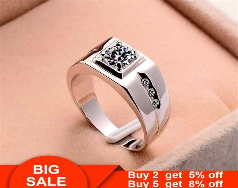 Solitaire แหวน 24KT GOLD สี 925 เงินสเตอร์ลิง AAA Zircon CZ แหวนหมั้นแหวนผู้ชายลายนิ้วมือ PARTY เครื่องประดับ