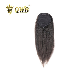 QWB Free Shipping Drawstring Ponytail Kinky Straight Brazilian Virgin Human Hair14~22 Inch