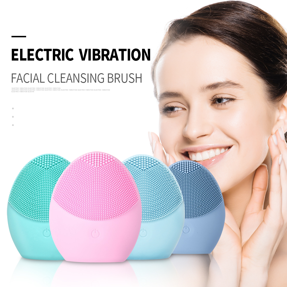 Electric Mini Facial Cleansing Brush Massager Brush For Wash Face Cleanser Machine Deep Clean Silicone Cleaner