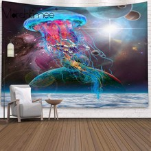 цена на Psychedelic Jellyfish tapestry background wall hanging cloth Living room bedroom Bedspread Home decoration forest mural tapestry