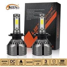Okeen farol automotivo super brilhante, 300w, 24000lm, 6000k, branco, h7, h4, h1, 12v, h8, lâmpada para automóveis kit de lâmpada de nevoeiro