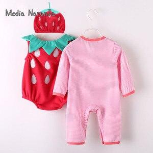 Image 2 - Traje de fresa para bebé niña, Pelele de manga larga + sombrero + chaleco, ropa de fotografía infantil para festival de halloween purim