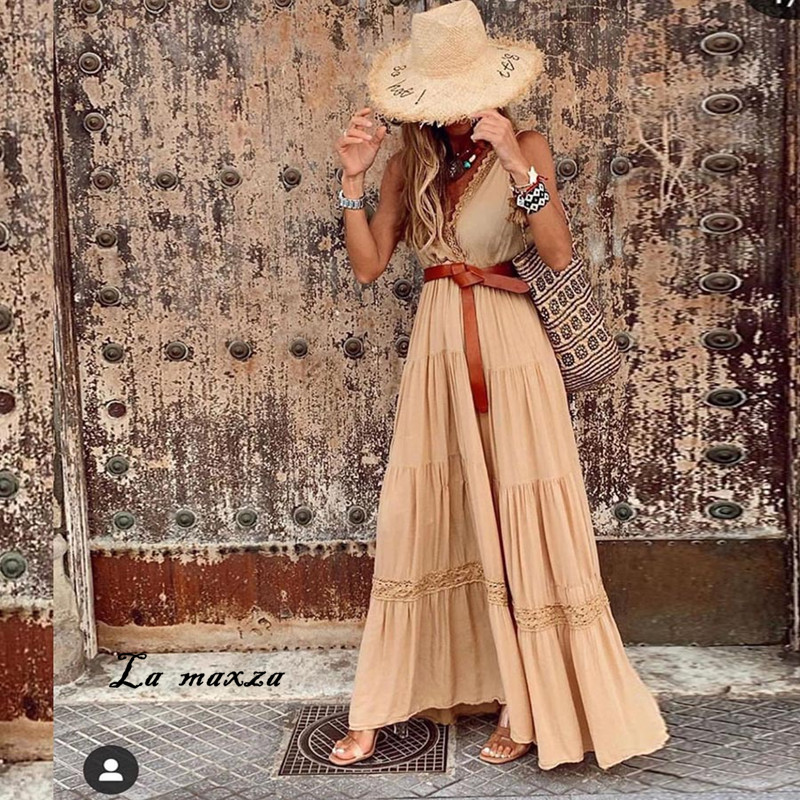 Summer Sexy Lace Patchwork Women Maxi Dress 2020 Fashion V-neck Spaghetti Straps Loose Dress