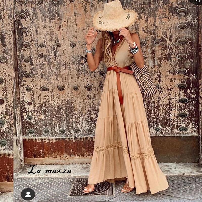 Summer Sexy Lace Patchwork Women Maxi Dress 2020 Fashion V-neck Spaghetti Straps Loose Dress