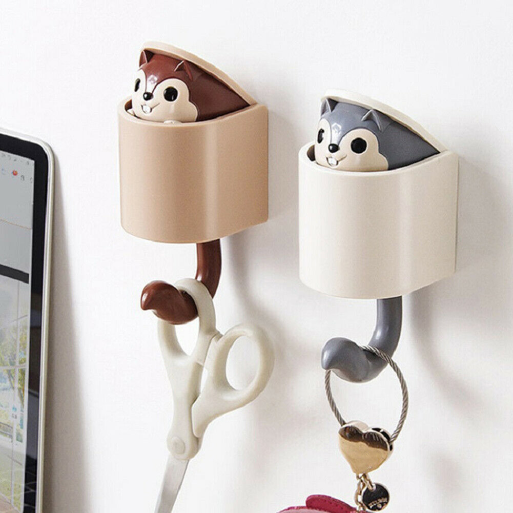 Adhesive Wall Hooks Cartoon Cute Squirrel Hooks For Kid's Room Living Room Bedroom PI669