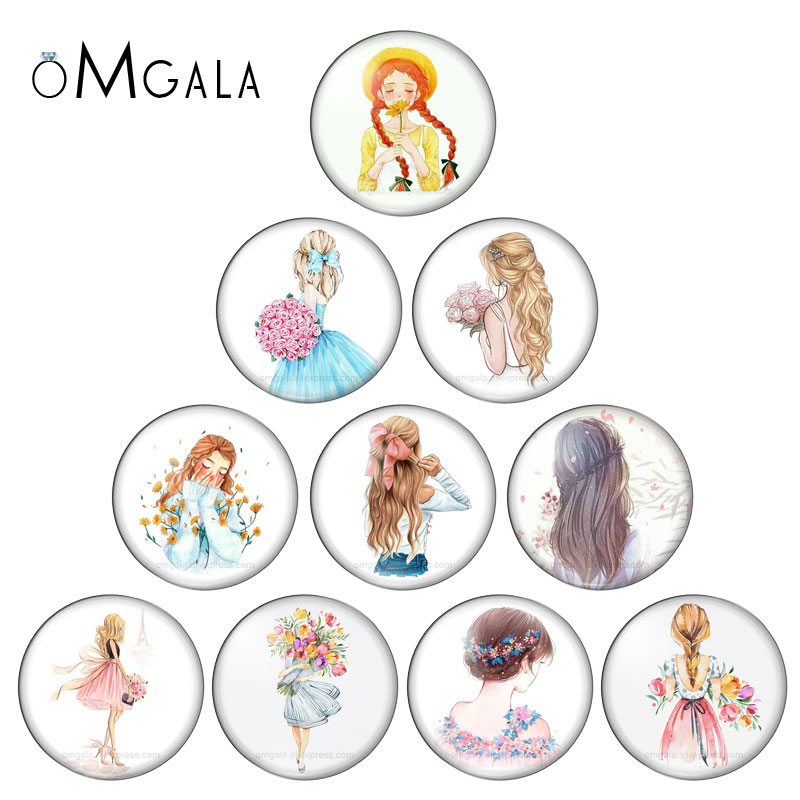 Fashion Beauty Girls Hand Drawing Girl 10pcs 12mm/18mm/20mm/25mm Round Photo Glass Cabochon Demo Flat Back Making Findings